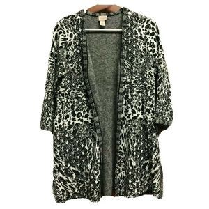 Chicos Black White Cardigan Sweater Animal Print 1